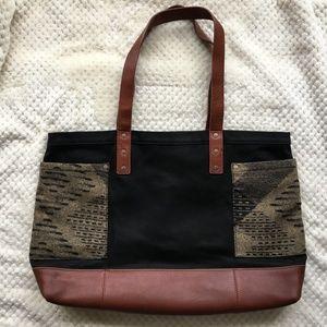 Pendleton tote, brown + black wool and leather bag
